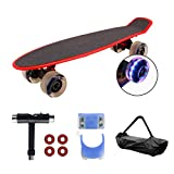 Geelife 22' Complete Mini Cruiser Skateboard for Beginners Youths Teens Girls Boys with LED Wheels (Bright Red) …