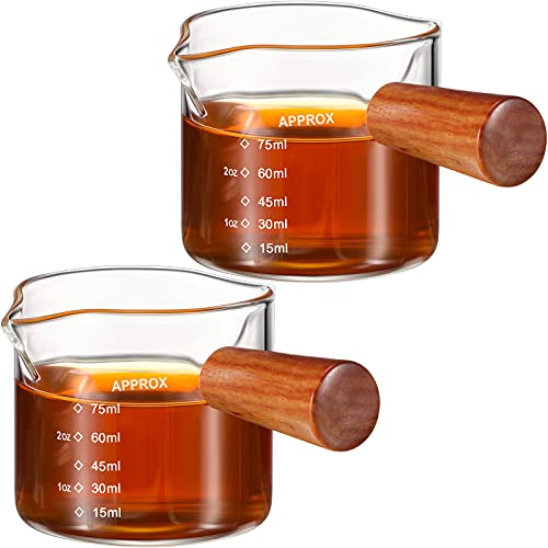 2 Pieces Double Spout Espresso Shot Glass Coffee Double Spouts Glass Espresso Measuring Glass Coffee Carafe Gear Shot Glass Glass Coffee Replacement Carafe With Handle For Milk Coffee Espresso Maker