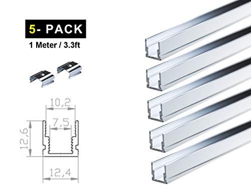 Ogeled LED Profi Aluminium Profile für LED-Strips (Zubehör) (U 8mm (5 Stück), 1m)