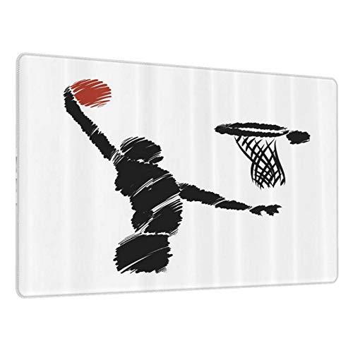 Alfombrilla Gaming Jugador Baloncesto Estilo Dibujo Mano Alzada Saltando Atleta Entrenamiento Obra Base de Goma Antideslizante,Adecuada para Jugadores,PC y portátil-80x30cm