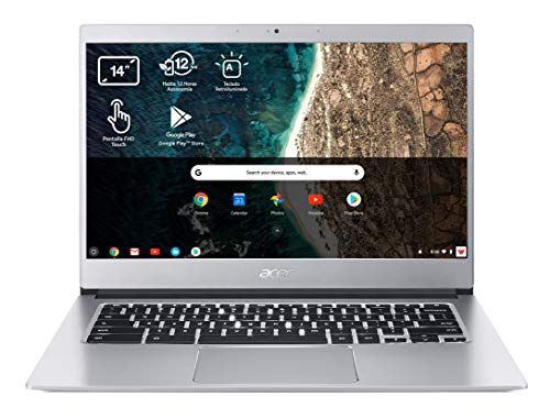 Acer Chromebook 514 CB514-1HT - Portátil 14' FullHD (Intel Pentium N4200, 4GB RAM, 128GB eMMc, Intel HD Graphics, Chrome OS), Teclado QWERTY Español, Color Plata