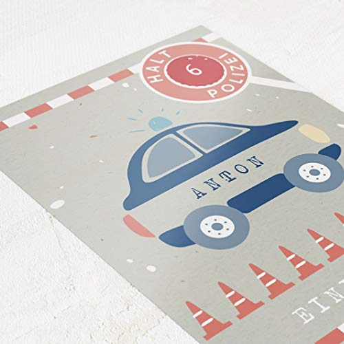Buntes Polizei Motiv, Einladungskarten Geburtstag Kinder, Junge, personalisiert mit individuellem Einladungstext & Lieblings-Kinderfoto, 5er Karten-Set, Postkarte C6, optional mit Umschlägen