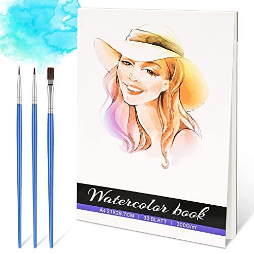 RATEL Aquarell Papier, 30 Blatt Aquarell Pad 100% Holz Zellstoff, 300gsm Aquarell Papier Baumwolle A4 Aquarell Buch Säure frei kalt gepresstes Papier, ideal für Aquarell-Techniken und Skizzieren