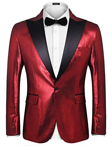 COOFANDY Mens Stylish Classic Dress Suit Solid Red Lapel Blazer Tuxedo Coat, Wine Red, Large
