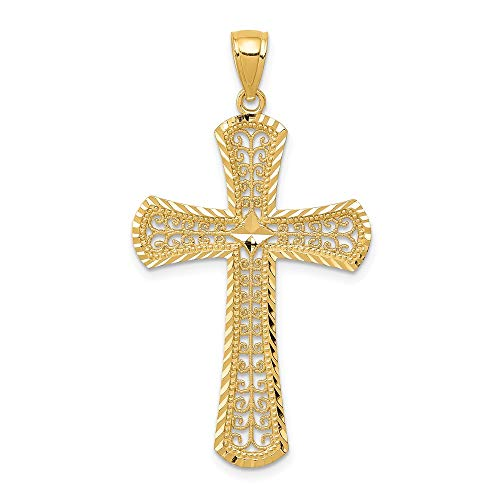 14k Yellow Gold Filigree Cross Religious Pendant Charm Necklace Fancy Fine Jewelry For Women Mothers Day Gifts For Her