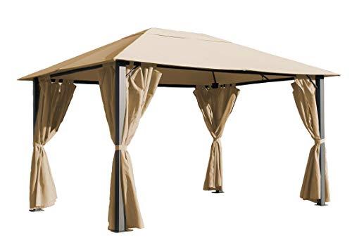 QUICK STAR Metall Garten Pavillon Paris 3x4m Antik Sand Partyzelt mit 4 Seitenteilen