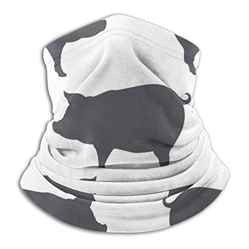 Cerdo Silhouette carne de cerdo unisex cálido cuello bufanda pasamontañas, clima frío invierno deportes al aire libre turbante
