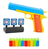 Realistic 1:1 Scale m1911 Toy Gun and Reset Target,Kids Colorful Toy Gun with Soft Bullets,Teach Shooter and Gun Safety,Fun Outdoor Game, Gift for 6+ Ages Child (Blue)