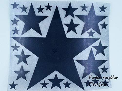 Bügelbild, Motiv: Sterne, Farbe: navyblau, Setgröße: maxi, heißsiegelfähige Flockfolie auf Basis von Viskosefasern