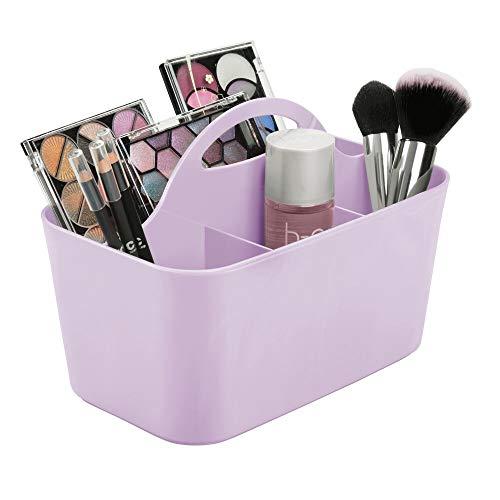 mDesign Kosmetik Organizer mit Griff – praktische Badezimmer Aufbewahrungsbox mit 4 Fächern – auch als Schminkaufbewahrung geeignet – lila