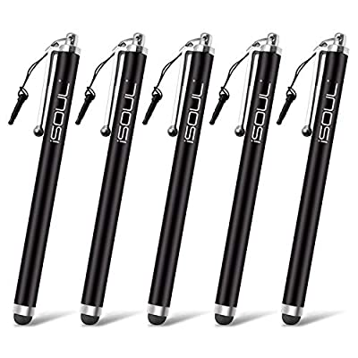ISOUL Stylus Touch Pen, [5 PACK] Styli Capacitive Touchscreen Pen Steel Stylus For iPhone, iPad Mini, Pro, Galaxy, Note, Tab, Nexus, Nokia, Blackberry, OnePlus, Tablets and More (Black)