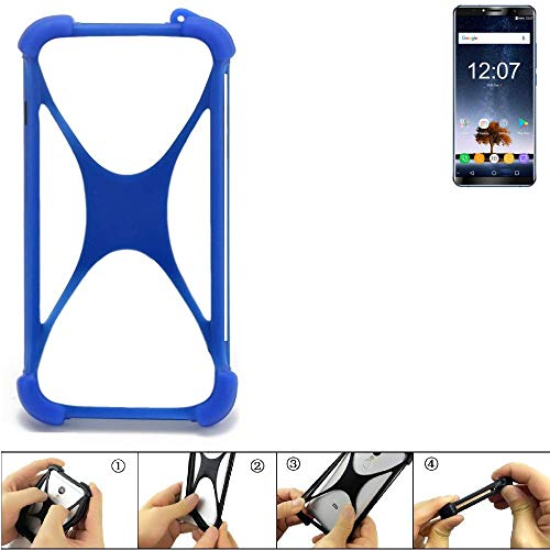 K-S-Trade® Handyhülle Für Oukitel K6 Silikon Schutz Hülle Cover Case Bumper Silikoncase TPU Softcase Schutzhülle Smartphone Stoßschutz, Blau (1x),