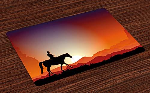 ABAKUHAUS westelijk Placemat Set van 4, Cowboy op een Paard bij Desert, Wasbare Stoffen Placemat voor Eettafel, Vermilion Charcoal Grey