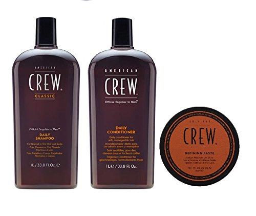 American Crew Daily Shampoo 1000ml, Conditioner 1000ml und Defining Paste 85g