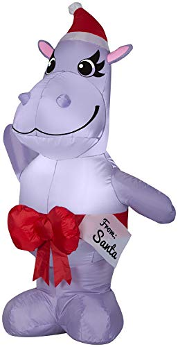 Gemmy 4ft Standing Happy Hippo w/Bow Christmas Inflatable