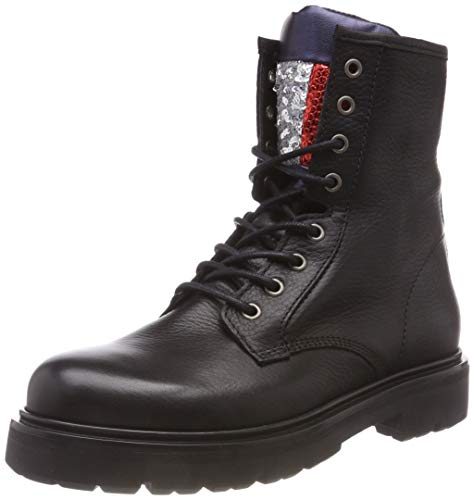 Hilfiger Denim Damen Big Flag Sparkle LACE UP Combat Boots, Schwarz (Black 990), 39 EU