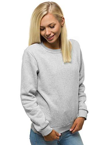 MOODOZ Damen Sweatshirt Pullover Langarm Farbvarianten Langarmshirt Pulli ohne Kapuze Baumwolle Baumwollemischung Classic Basic Rundhals-Ausschnitt Sport 777/09099B GRAU XL