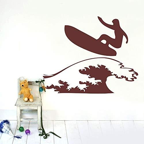 Pegatinas de pared, pegatina de decoración, surfista, tabla de surf, pegatina de pared, calcomanías de vinilo, hogar, niños, guardería, arte de pared, mural, decoración del hogar, 60x74cm
