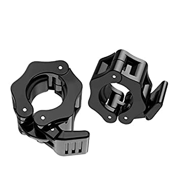 SEEWAY 1 Inch Quick Release Dumbbell Clamps 1   Standard Barbell ABS Spinlock Weights Bar Plate Lock Collars Clips Great for Women Strongman Gym Crossfit Wrokout Fitness Training(Black)