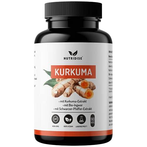 Nutridise® Kurkuma Extrakt (95%) – 90 Vegane Kapseln mit Bio Ingwer, Schwarzer-Pfeffer-Extrakt (95% Piperin) - hochdosiert, laborgeprüft
