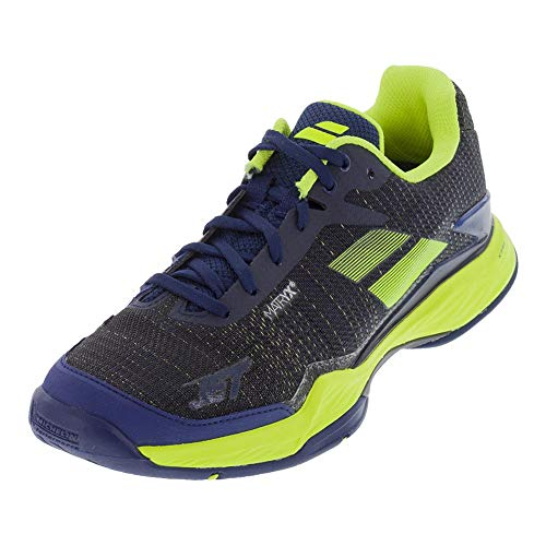 Babolat-Men`s Jet Mach 2 Clay Tennis Shoes Estate Blue and Fluo Yellow-(33249216