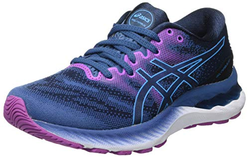 Asics Gel-Nimbus 23, Road Running Shoe Mujer, Grand Shark/Digital Aqua, 38 EU
