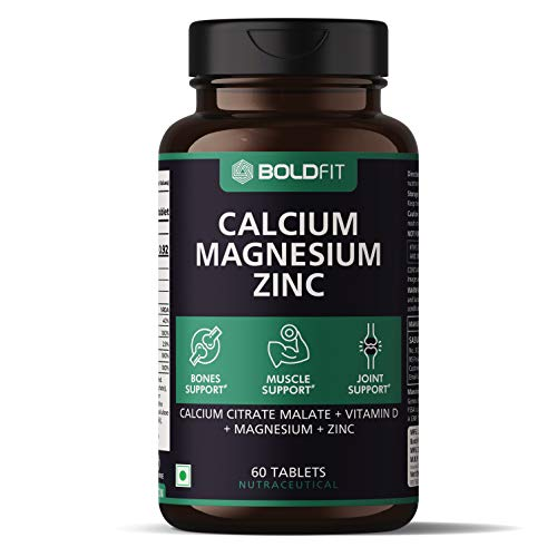 Boldfit Calcium Supplement 1000Mg for Women and Men with Magnesium, Zinc, Vitamin D and B12. Ideal for Bone Health, Sports Recovery and Joint Support – 60 Vegetarian Tablets