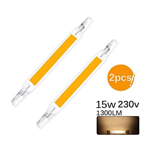 R7S LED Glühbirnen, ABEDOE 78/118mm LED Cob Lampe AC 5/10W Ersetzen Sie die Halogenlampe LED Spot Glühbirne 2er Pack (warmweiß, 15W-118mm-230V)