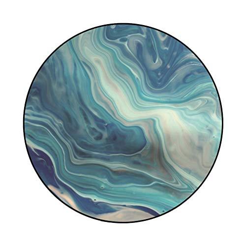 DEAR-JY Alfombra Redonda,Abstracto Azul Dorado mar Estrellado Cielo Sala de Estar Alfombra,Adecuado para Dormitorio Sala de Estar balcón Cesta Colgante Porche alfombras Decorativas,H,160cmDiameter