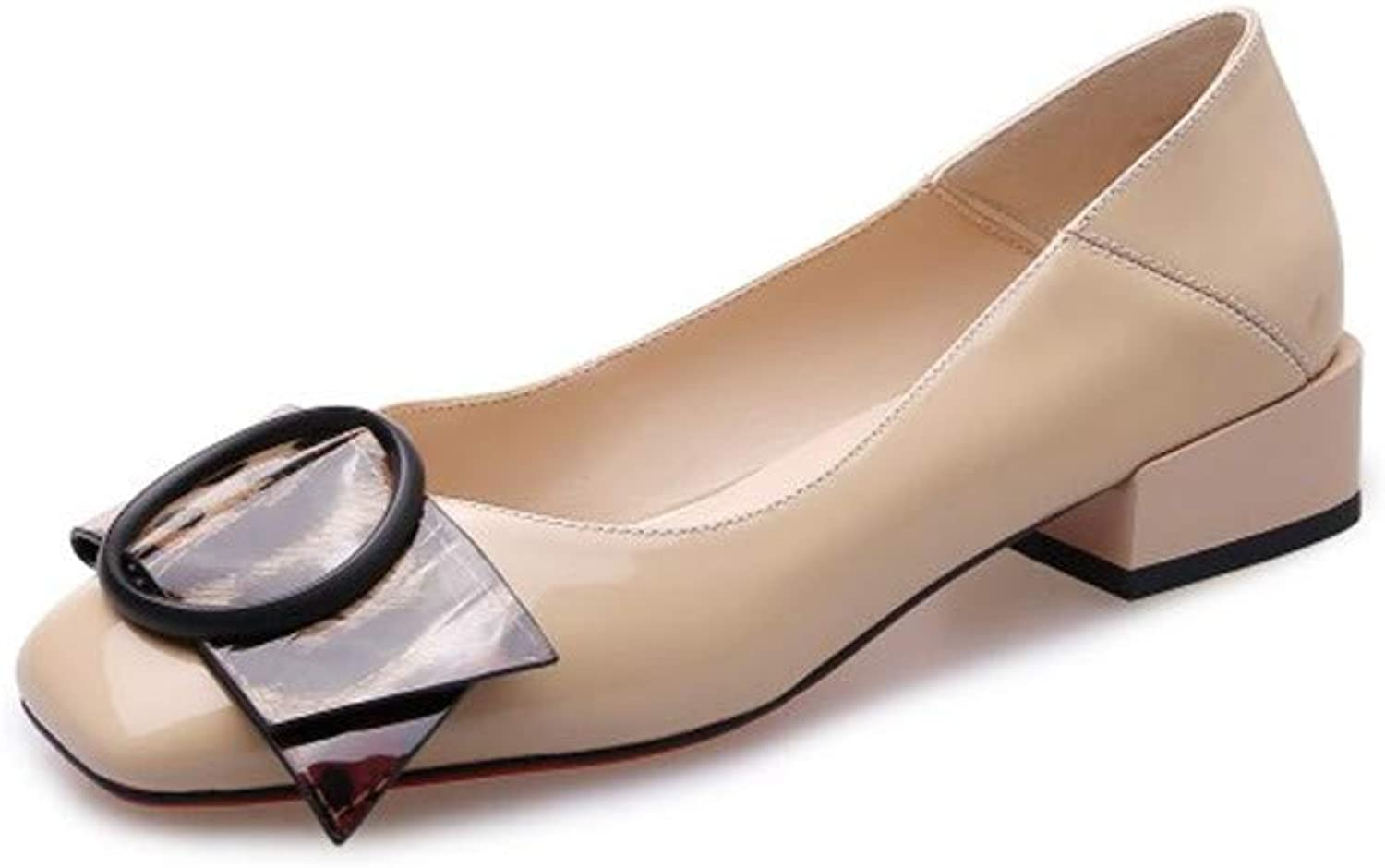Nine Seven Women's Genuine Leather Square Toe Chunky Heel Handmade Glossy and Comfortable Summer Spring Pumps shoes