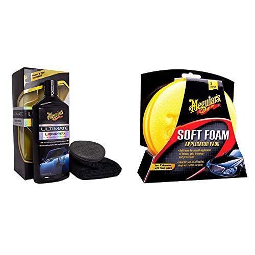 Meguiars G18216EU Ultimate Liquid Wax Autowachs, 473 ml & X3070 Soft Foam Applicator Pads Auftragsschwamm, 2-er Pack