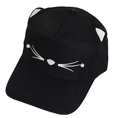 Bontannd Las Orejas Ajustable del Sombrero del Bordado Precioso Gato del Casquillo del Snapback Muchacha del Muchacho De Gorra De Béisbol Perla