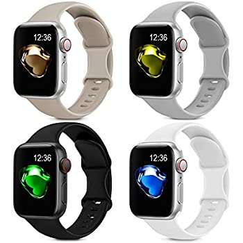 4 Pack Sport Silicone Bands Compatible with Apple Watch Bands 38mm 40mm Women Men Soft Replacement Strap Band Compatible for iwatch Series 6 SE 5 4 3 2 1 38MM/40MM,Black+White+Gray+Stone