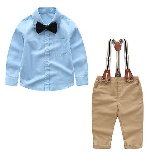Yilaku Baby Jungs '4-teilige Gentleman-Kleidung Set Top Fliege Hosen mit Straps Outfits Set Halloween Jungs Geburstag Kleidung 2 Jahre (Weiß-1, 12-18 Monate)