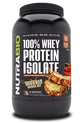 NutraBio 100% Whey Protein Isolate - Complete Amino Acid Profile - 25G of Protein Per Scoop - Soy and Gluten Free - Zero Fillers, Non-GMO, Protein Powder - Bourbon Banana Nut, 2 Pounds