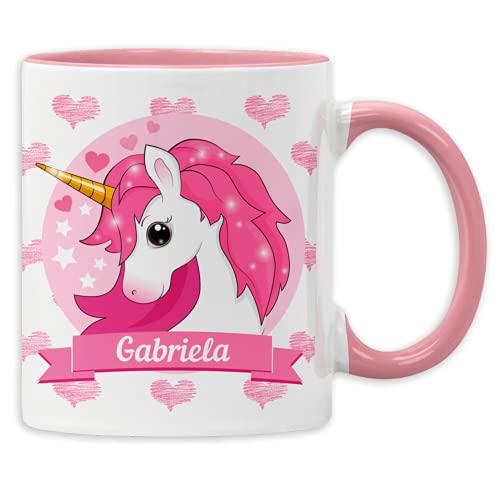 Einhorn Tasse mit Namen personalisierter Kaffee-Becher Wunschname Unicorn Geburtstags-Tasse (Rosa)