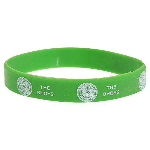 Celtic FC Official Single Rubber Football Crest Wristband (One Size) (Green)