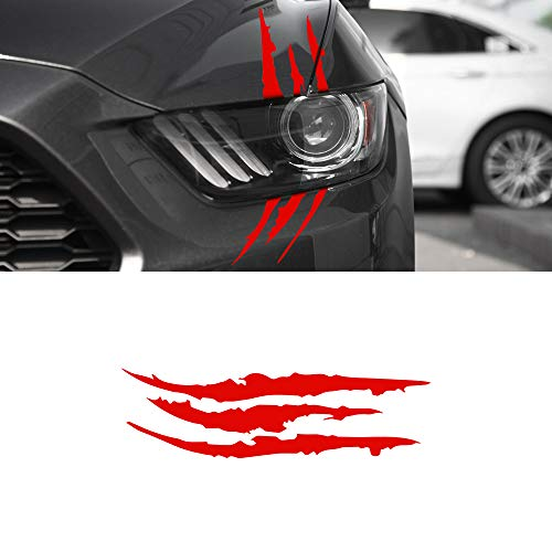 BLAKAYA Automotive Head Light Claw Marks Decal Scratch Stripe Car Sticker Fit for All The Car Models Red