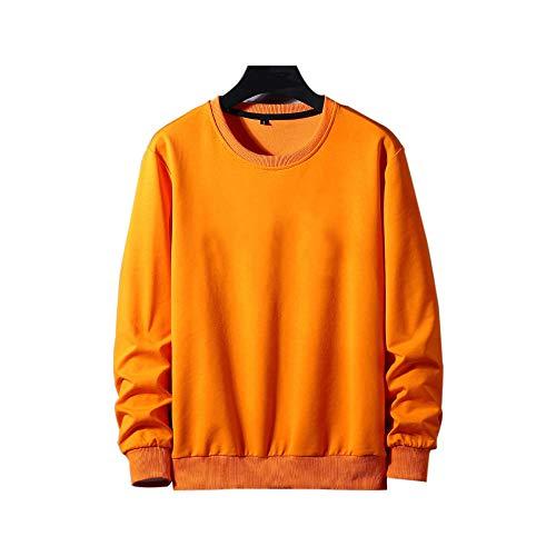 RYDRQF Sudadera ligera para hombre, de gran tamaño, color negro, de algodón, de manga larga, cuello redondo, para ocio, primavera a pie, trabajo diario naranja XXXXXXXXL
