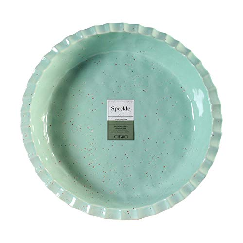 Ceramic Pie Dish in Seafoam by CIROA   9 Inch Large Size Green Porcelain Plate for Family Baking