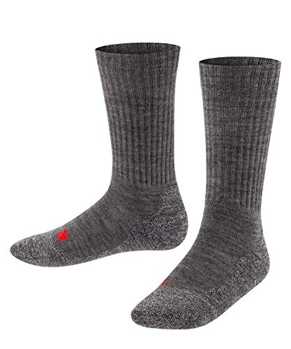 Falke Unisex Kinder Socken, Active Warm K SO -10450, Grau (Asphalt Melange 3180), 35-38