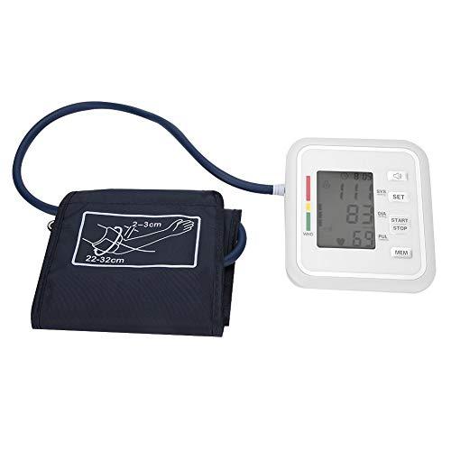 Monitor de presión arterial para brazo, brazalete para la parte superior del brazo, máquina digital de presión arterial con pantalla digital LCD Transmisión de voz para mujeres y hombres