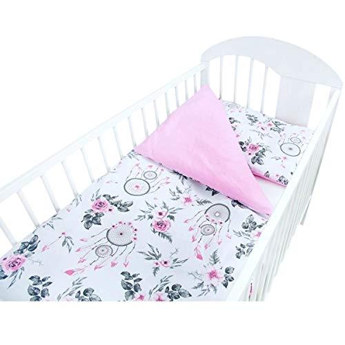 Callyna - Juego de funda nórdica de 135 x 100 cm y funda de almohada de 60 x 40 cm, 100% algodón, atrapasueños, color rosa y gris