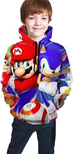 HGdggvd Diseño de Personajes Sudadera con Capucha Impresa en 3D para niños Sonic Vs Mriao Sudaderas con Capucha Personalizadas para Adolescentes