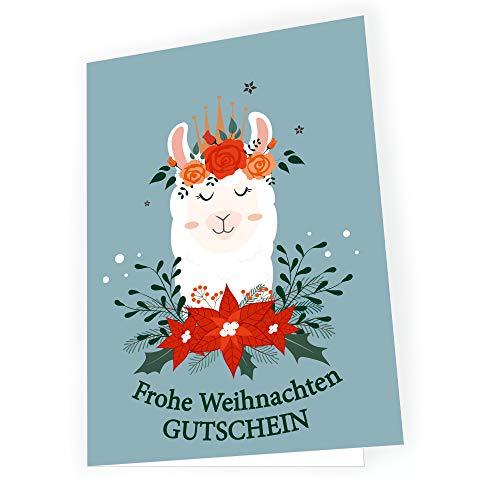 Bon upominkowy bożonarodzeniowy kartka świąteczna - lama bożonarodzeniowa - zawartość: 5 x kartka 5 x koperta