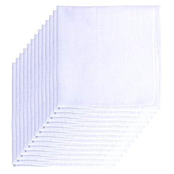 Van Heusen Men s Fine Handkerchiefs,65% Poly 35% Cotton,White Hankie,Pack of 13 Pieces