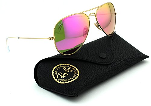 Ray-Ban Aviator Mirrored Sunglasses - Pink Mirror Lens