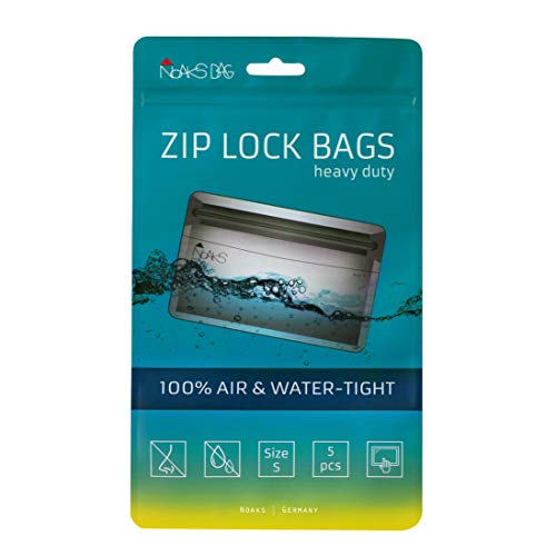 Noaks Bag S | 5 Piezas | Bolsa seca - Embalaje protector impermeable - Bolsas con cierre zip | 100% impermeable hasta 10 m - protección contra olores - hermético