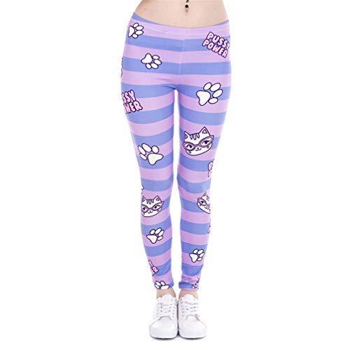 Moda Mujer Leggings Pusy Power Pink Stripes Impresión Gatos Gimnasio Pantalones de Estiramiento de Cintura Alta One Size