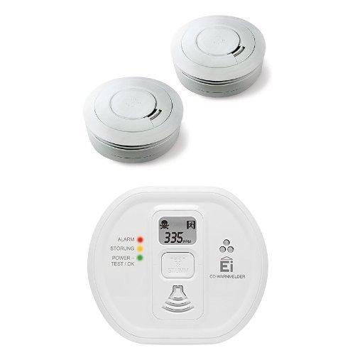 Ei Electronics Ei650 10-Jahres-Rauchwarnmelder, weiß, 2 Stück + Ei208D 10-Jahres-Kohlenmonoxidwarnmelder, weiß, 1 Stück